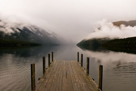 tranquille: landing stage at fogy lake in the nelson lakes national park, new zealand Stock Photo