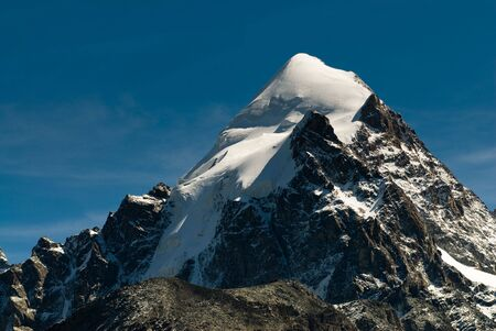 pyramid peak: Piz Rosegg. View from Fourcla Surlej, Engadin, Switzerland Stock Photo