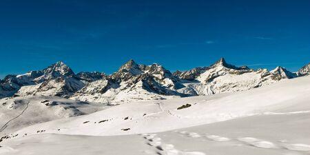 wallis: Panoramic view in winter above Zermatt, Switzerland.