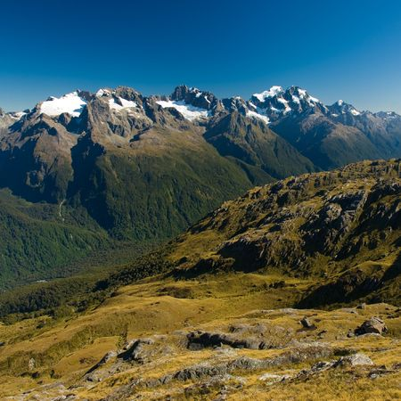scenic view over fiordland, view from harris saddle, routeburn track, south island, new zealand