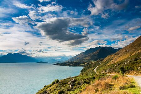 mountain scenery at lake pukaki, queenstown, south island, new zealand