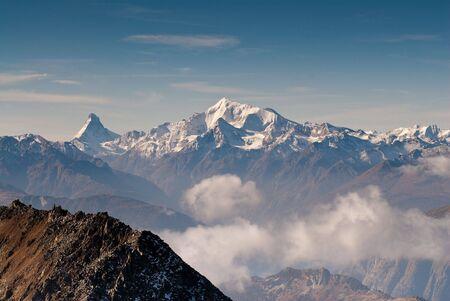 wallis: Matterhorn and Weisshorn mountain peaks, view from Eggishor, Wallis, Switzerland
