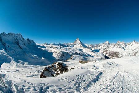 wallis: Scenic view of Matterhorn from Gornergrat in Winter, Zermatt, Wallis, Switzerland Stock Photo
