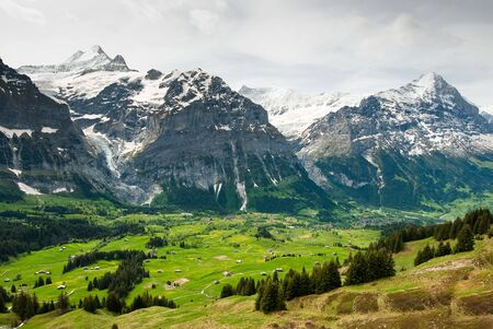 eiger: scenic view over grindelwald with Eiger and Schreckhorn mountain peaks in spring, Switzerland Stock Photo