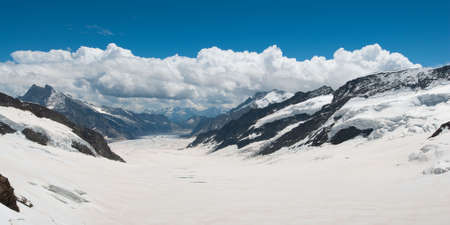 Scenic view of the Aletsch Glacier from Jungfraujoch, Switzerland in summer Stock Photo - 4844079