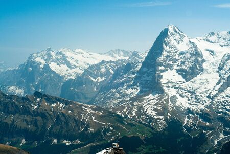 Eiger and Wetterhorn mountain peaks, view from Schildhorn, Switzerland photo