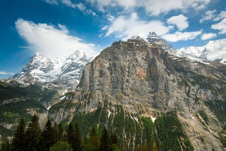 monch: Eiger, Monch and the lower part of the Jungfrau mountain, view from Muerren, Switerzland Stock Photo