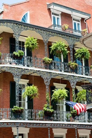 mardi: New Orleans architecture in bourbon street, french quarter