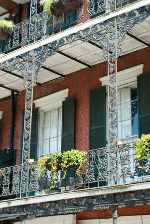 louisiana: New Orleans architecture in bourbon street, french quarter