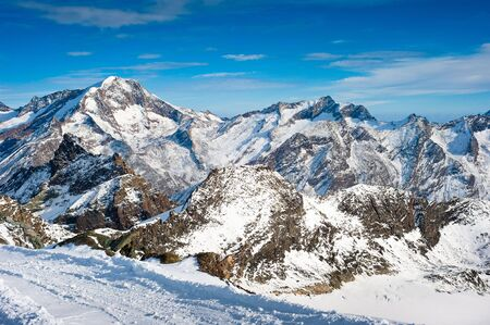Saas Fee: Weissmies mountain peak at Saas Fee in Winter, Wallis, Switzerland Stock Photo