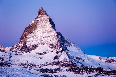 matterhorn: matterhorn mountain peak at dawn, view from gornergrat, zermatt, switzerland