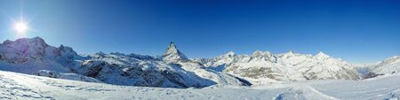 panoramic view from riffelberg with matterhorn in winter, zermatt, switzerland