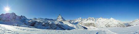 matterhorn: panoramic view from riffelberg with matterhorn in winter, zermatt, switzerland