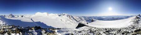 360 degree panorama from cobba di rollin with matterhorn and monte rosa mountain range in winter, zermatt, switzerland