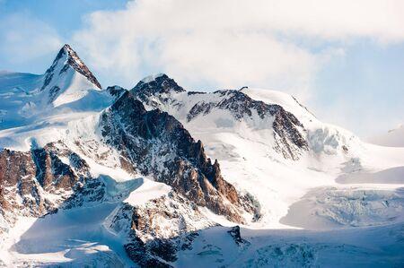 Doufourspitze (4634m) mountain peak, Monte Rosa, Zermatt, Switzerland