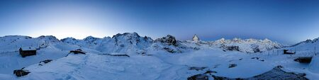 360 degree panorama from Riffelberg at dawn, Gornergrat, Zermatt, Switzerland 版權商用圖片