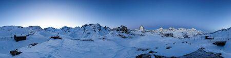 360 degree panorama from Riffelberg at dawn, Gornergrat, Zermatt, Switzerland Stock Photo