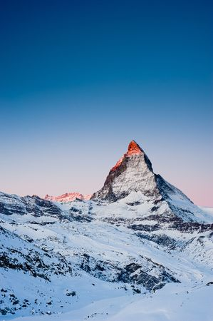 Mattterhorn at sunrise, view from Riffelberg, Gornergrat, Zermatt, Switzerland