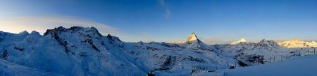 wallis: Panorama from Gornergrat at sunrise, Zermatt, Wallis, Switzerland