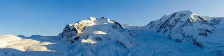 Monte Rosa and Lyskamm panorama, view form Gornergrat, ZErmatt, Switzerland Stock Photo - 6158623