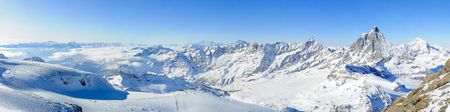 Panoramic view from kl. Matterhorn over Mont Blanc and Matterhorn, Zermatt, Switzerland