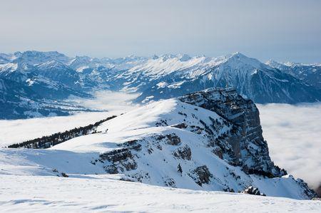 oberland: View from BurgfeldstandNiederhorn in winter, Berner Oberland, Switzerland