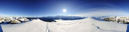 360 degree panorama from BurgfeldstandNiederhorn with Eiger, Moench and Jungfrau, Switzerland