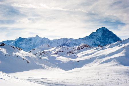 Eiger (3970m) mountain in winter, view from FirstFaulhorn, Grindelwald, Switzerland Stock Photo