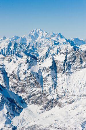 Mont Blanc mountain peak in winter, view from kl. Matterhorn, Zermatt, Switzerland photo