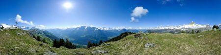 360 degree panorama from Riederhorn, Riederalp, Wallis, Switzerland