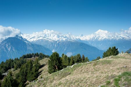 wallis: Mischabel, Matterhorn and Weisshorn mountain peaks, view from Reiderhorn, Wallis, Switzerland Stock Photo