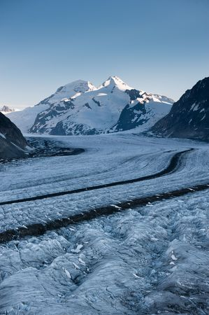 Aletsch glacier with Moench in the background. Part of the Jungfrau-Aletsch UNESCO World Heritage, Wallis, Switzerland. Stock Photo - 7298726