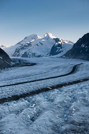 wallis: Aletsch glacier with Moench in the background. Part of the Jungfrau-Aletsch UNESCO World Heritage, Wallis, Switzerland.