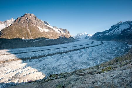 Aletsch glacier with Moench in the background. Part of the Jungfrau-Aletsch UNESCO World Heritage, Wallis, Switzerland. Stock Photo - 7298724