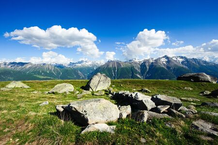 wallis: Mountain panorama with clouds and blue sky from Fiescheralp, Wallis, Switzerland