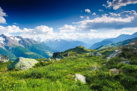 Bergpanorama von der Fiescheralp und Bettmeralp, Wallis, Schweiz Standard-Bild - 9532668