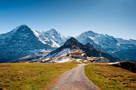View from Maennlichen with Eiger Moench and Jungfrau Mountain peaks Stock Photo - 11396512