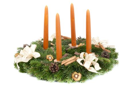 adventskranz: Advent wreath isolated on white