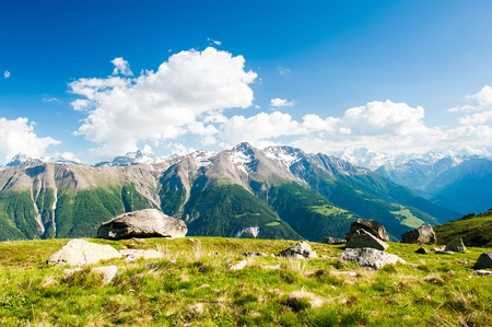 mountain panorama from fiescheralp and bettmeralp, wallis, switzerland photo