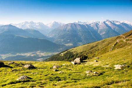 valais: Mountain panorama from fiescheralp, wallis, switzerland Stock Photo