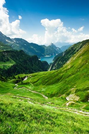 prato montagna: Lago di Luzzone, alta Valle di Blenio, Ticino, Svizzera Archivio Fotografico