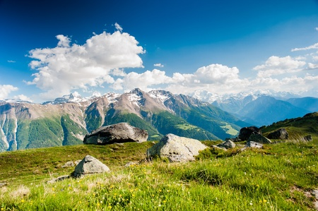 mountain panorama from fiescheralp and bettmeralp, wallis, switzerland Stock Photo - 13160296