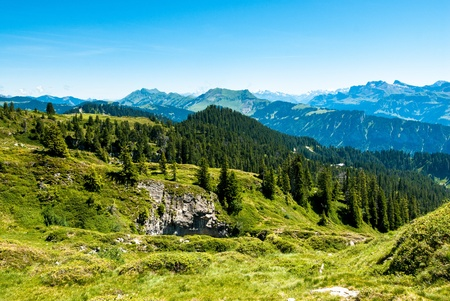 Panorama with alpine meadow from Niederhorn looking east, Switzerland Stock Photo - 13314711