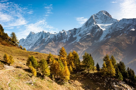 Bietschorn mountain peak in autumn. View from Laucheralp, Loetschental, Wallis, Switzerland