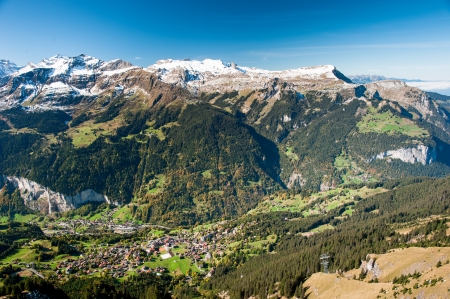 Wengen and Lauterbrunen, view from Maennlichen, Switzerland photo