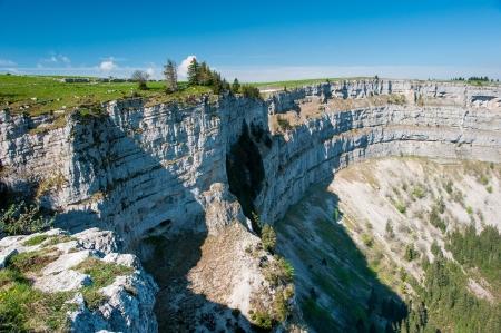 canyon walls: Creux du van amphitheater, Neuchatel, Switzerland Stock Photo