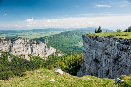 du ร    ก ร: Panorama from Creux du van, Neuchatel, Switzerland Stock Photo
