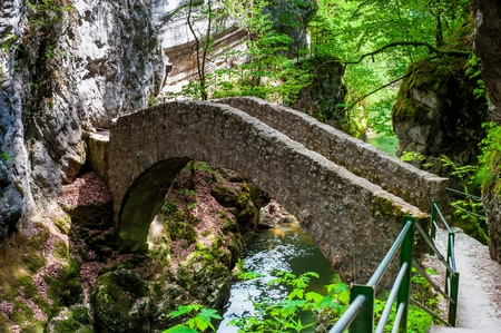 Small bridge over river at Gorges de lAreuse, Neuchatel, Switzerland photo