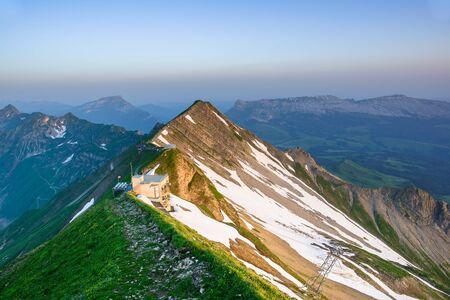 oberland: Panoramic view of mountain sunrise from Brienzer Rothorn, Berner Oberland, Switzerland Stock Photo