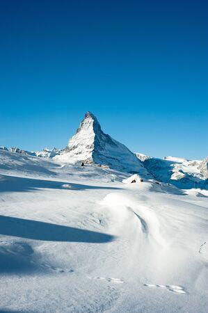 겨울 호른 산 피크, Riffelberg 체어 마트, 스위스에서보기